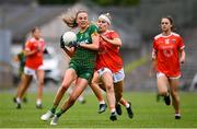 1 August 2021; Aoibhín Cleary of Meath in action against Lauren McConville of Armagh during the TG4 Ladies Football All-Ireland Championship Quarter-Final match between Armagh and Meath at St Tiernach's Park in Clones, Monaghan. Photo by Sam Barnes/Sportsfile