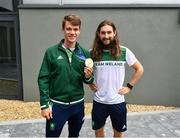 1 August 2021; Gold medalists Fintan McCarthy, left, and Paul O'Donovan at Dublin Airport as Team Ireland's rowers return from the Tokyo 2020 Olympic Games. Photo by David Fitzgerald/Sportsfile