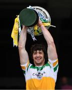 1 August 2021; Offaly captain Ben Conneely lifts the Christy Ring Cup at the presentation after the Christy Ring Cup Final match between Derry and Offaly at Croke Park in Dublin. Photo by Ray McManus/Sportsfile