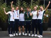 1 August 2021; Gold medallists Paul O'Donovan, left, and Fintan McCarthy alongside bronze medallists, from left, Emily Hegarty, Fiona Murtagh, Aifric Keogh and Eimear Lambe at Dublin Airport as Team Ireland's rowers return from the Tokyo 2020 Olympic Games. Photo by David Fitzgerald/Sportsfile