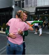 1 August 2021; Gold medallist Fintan McCarthy is congratulated by Claire Lambe at Dublin Airport as Team Ireland's rowers return from the Tokyo 2020 Olympic Games. Photo by David Fitzgerald/Sportsfile