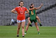 1 August 2021; Niamh O'Sullivan, right, and Aoibhín Cleary, 6, both of Meath celebrate after their side's victory in the TG4 Ladies Football All-Ireland Championship Quarter-Final match between Armagh and Meath at St Tiernach's Park in Clones, Monaghan. Photo by Sam Barnes/Sportsfile