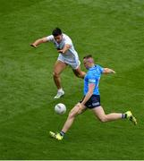 1 August 2021; Paddy Small of Dublin in action against Ryan Houlihan of Kildare during the Leinster GAA Football Senior Championship Final match between Dublin and Kildare at Croke Park in Dublin. Photo by Daire Brennan/Sportsfile