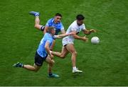 1 August 2021; Ryan Houlihan of Kildare in action against Con O'Callaghan, left, and Niall Scully during the Leinster GAA Football Senior Championship Final match between Dublin and Kildare at Croke Park in Dublin. Photo by Daire Brennan/Sportsfile