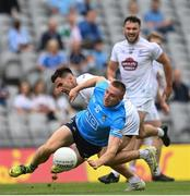 1 August 2021; Paddy Small of Dublin is tackled by Ryan Houlihan of Kildare during the Leinster GAA Football Senior Championship Final match between Dublin and Kildare at Croke Park in Dublin. Photo by Harry Murphy/Sportsfile