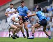 1 August 2021; Kevin Flynn of Kildare in action against Brian Howard, 6, and Niall Scully of Dublin during the Leinster GAA Football Senior Championship Final match between Dublin and Kildare at Croke Park in Dublin. Photo by Piaras Ó Mídheach/Sportsfile