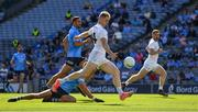 1 August 2021; Daniel Flynn of Kildare shoots to score his side's first goal, in the 62nd minute, during the Leinster GAA Football Senior Championship Final match between Dublin and Kildare at Croke Park in Dublin. Photo by Ray McManus/Sportsfile