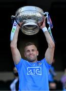 1 August 2021; Dublin captain Jonny Cooper lifts the Delaney cup after the Leinster GAA Football Senior Championship Final match between Dublin and Kildare at Croke Park in Dublin. Photo by Ray McManus/Sportsfile