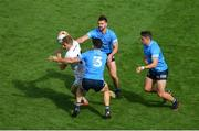1 August 2021; Daniel Flynn of Kildare in action against Dublin players, left to right, David Byrne, Seán McMahon, and Brian Howard during the Leinster GAA Football Senior Championship Final match between Dublin and Kildare at Croke Park in Dublin. Photo by Daire Brennan/Sportsfile