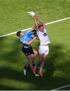 1 August 2021; Daniel Flynn of Kildare in action against Tom Lahiff, left, and David Byrne of Dublin during the Leinster GAA Football Senior Championship Final match between Dublin and Kildare at Croke Park in Dublin. Photo by Daire Brennan/Sportsfile