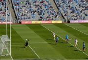 1 August 2021; Daniel Flynn of Kildare shoots to score his side's first goal past Dublin goalkeeper Evan Comerford during the Leinster GAA Football Senior Championship Final match between Dublin and Kildare at Croke Park in Dublin. Photo by Harry Murphy/Sportsfile