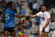 1 August 2021; James McCarthy of Dublin and Niall Kelly of Kildare bump fists after the Leinster GAA Football Senior Championship Final match between Dublin and Kildare at Croke Park in Dublin. Photo by Piaras Ó Mídheach/Sportsfile