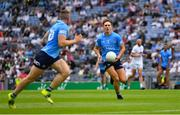 1 August 2021; Michael Fitzsimons of Dublin passes to team-mate Paddy Small during the Leinster GAA Football Senior Championship Final match between Dublin and Kildare at Croke Park in Dublin. Photo by Ray McManus/Sportsfile