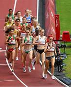 2 August 2021; Ciara Mageean of Ireland, centre, in action during round one of the women's 1500 metres at the Olympic Stadium on day ten of the 2020 Tokyo Summer Olympic Games in Tokyo, Japan. Photo by Ramsey Cardy/Sportsfile