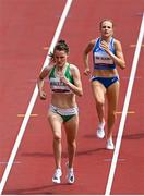 2 August 2021; Ciara Mageean of Ireland, left, sprints for the finish line during round one of the women's 1500 metres at the Olympic Stadium on day ten of the 2020 Tokyo Summer Olympic Games in Tokyo, Japan. Photo by Ramsey Cardy/Sportsfile