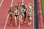 2 August 2021; Laura Muir of Great Britain leads the field alongside Ciara Mageean of Ireland, centre, during round one of the women's 1500 metres at the Olympic Stadium on day ten of the 2020 Tokyo Summer Olympic Games in Tokyo, Japan. Photo by Ramsey Cardy/Sportsfile