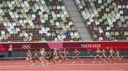 2 August 2021; Gabriela Debues-Stafford of Canada and Laura Muir of Great Britain lead the field on their way to finishing first and second respectively during round one of the women's 1500 metres at the Olympic Stadium on day ten of the 2020 Tokyo Summer Olympic Games in Tokyo, Japan. Photo by Ramsey Cardy/Sportsfile