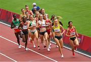 2 August 2021; Sarah Healy of Ireland, centre, in action during round one of the women's 1500 metres at the Olympic Stadium on day ten of the 2020 Tokyo Summer Olympic Games in Tokyo, Japan. Photo by Ramsey Cardy/Sportsfile