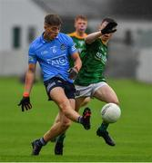2 August 2021; Greg McEneaney of Dublin in action against Conor Ennis of Meath during the 2021 Electric Ireland Leinster Minor Football Championship Final match between Meath and Dublin at Bord Na Mona O'Connor Park in Tullamore, Offaly. Photo by Ray McManus/Sportsfile