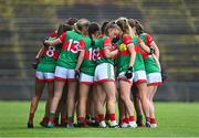 2 August 2021; Mayo players in a huddle before the TG4 All-Ireland Senior Ladies Football Championship Quarter-Final match between Mayo and Galway at Elverys MacHale Park in Castlebar, Co Mayo. Photo by Piaras Ó Mídheach/Sportsfile