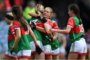 2 August 2021; Sarah Rowe of Mayo, second from right, hugs her team-mate Grace Kelly after their side's victory in the TG4 All-Ireland Senior Ladies Football Championship Quarter-Final match between Mayo and Galway at Elverys MacHale Park in Castlebar, Co Mayo. Photo by Piaras Ó Mídheach/Sportsfile