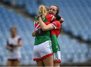 2 August 2021; Mayo players Dayna Finn, right, and Sarah Rowe celebrate after their side's victory in the TG4 All-Ireland Senior Ladies Football Championship Quarter-Final match between Mayo and Galway at Elverys MacHale Park in Castlebar, Co Mayo. Photo by Piaras Ó Mídheach/Sportsfile