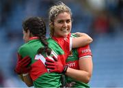 2 August 2021; Mayo players Marie Reilly, right, and Roisin Durcan celebrate after their side's victory in the TG4 All-Ireland Senior Ladies Football Championship Quarter-Final match between Mayo and Galway at Elverys MacHale Park in Castlebar, Co Mayo. Photo by Piaras Ó Mídheach/Sportsfile