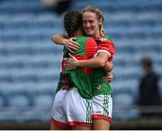 2 August 2021; Mayo players Lisa Cafferky, right, and Dayna Finn celebrate after their side's victory in the TG4 All-Ireland Senior Ladies Football Championship Quarter-Final match between Mayo and Galway at Elverys MacHale Park in Castlebar, Co Mayo. Photo by Piaras Ó Mídheach/Sportsfile