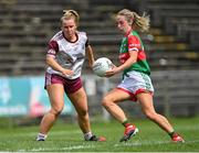 2 August 2021; Lisa Cafferky of Mayo in action against Emma Reaney of Galway during the TG4 All-Ireland Senior Ladies Football Championship Quarter-Final match between Mayo and Galway at Elverys MacHale Park in Castlebar, Co Mayo. Photo by Piaras Ó Mídheach/Sportsfile