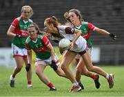 2 August 2021; Olivia Divilly of Galway in action against Niamh Kelly, right, and Tamara O'Connor of Mayo during the TG4 All-Ireland Senior Ladies Football Championship Quarter-Final match between Mayo and Galway at Elverys MacHale Park in Castlebar, Co Mayo. Photo by Piaras Ó Mídheach/Sportsfile