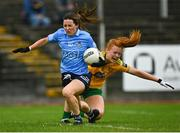 2 August 2021; Lyndsey Davey of Dublin is tackled by Evelyn McGinley of Donegal during the TG4 All-Ireland Senior Ladies Football Championship Quarter-Final match between Dublin and Donegal at Páirc Seán Mac Diarmada in Carrick-On-Shannon, Leitrim. Photo by Eóin Noonan/Sportsfile