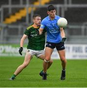 2 August 2021; Eoghan O'Connor Flanagan of Dublin in action against Andrew Moore of Meath during the 2021 Electric Ireland Leinster Minor Football Championship Final match between Meath and Dublin at Bord Na Mona O'Connor Park in Tullamore, Offaly. Photo by Ray McManus/Sportsfile
