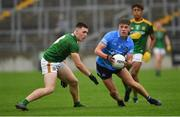 2 August 2021; Greg McEneaney of Dublin in action against Paul Wilson of Meath during the 2021 Electric Ireland Leinster Minor Football Championship Final match between Meath and Dublin at Bord Na Mona O'Connor Park in Tullamore, Offaly. Photo by Ray McManus/Sportsfile