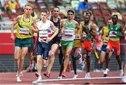 3 August 2021; Andrew Coscoran of Ireland, centre, in action during his heat of the men's 1500 metres at the Olympic Stadium during the 2020 Tokyo Summer Olympic Games in Tokyo, Japan. Photo by Ramsey Cardy/Sportsfile