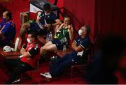 3 August 2021; Kellie Harrington of Ireland with Bernard Dunne, left, and coach John Conlan, right, before her women's lightweight quarter-final bout against Imane Khelif of Algeria at the Kokugikan Arena during the 2020 Tokyo Summer Olympic Games in Tokyo, Japan. Photo by Stephen McCarthy/Sportsfile