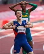 3 August 2021; Karsten Warholm of Norway reacts after setting a new world record, of 45.94, after winning the men's 400 metres hurdles final at the Olympic Stadium during the 2020 Tokyo Summer Olympic Games in Tokyo, Japan. Photo by Ramsey Cardy/Sportsfile