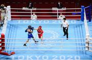 3 August 2021; Kellie Harrington of Ireland, right, and Imane Khelif of Algeria during their women's lightweight quarter-final bout at the Kokugikan Arena during the 2020 Tokyo Summer Olympic Games in Tokyo, Japan. Photo by Stephen McCarthy/Sportsfile