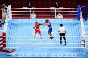 3 August 2021; Kellie Harrington of Ireland, left, and Imane Khelif of Algeria during their women's lightweight quarter-final bout at the Kokugikan Arena during the 2020 Tokyo Summer Olympic Games in Tokyo, Japan. Photo by Stephen McCarthy/Sportsfile