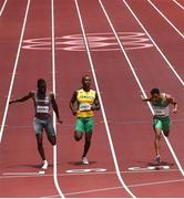 3 August 2021; Leon Reid of Ireland, right, and Julian Forte of Jamaica, centre, and Brandon Rodney of Canada cross the line in the men's 200 metre heats at the Olympic Stadium during the 2020 Tokyo Summer Olympic Games in Tokyo, Japan. Photo by Ramsey Cardy/Sportsfile