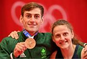 3 August 2021; Bronze medalist Aidan Walsh of Ireland with his sister Michaela Walsh after the men's welterweight division medal ceremony at the Kokugikan Arena during the 2020 Tokyo Summer Olympic Games in Tokyo, Japan. Photo by Brendan Moran/Sportsfile