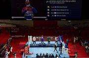 3 August 2021; Medallists in the men's welterweight division, from left, silver medalist Pat McCormack of Great Britain, gold medalist Roniel Iglesias of Cuba, bronze medalists Aidan Walsh of Ireland and Andrei Zamkovoi of Russian Olympic Committee during victory ceremony at the Kokugikan Arena during the 2020 Tokyo Summer Olympic Games in Tokyo, Japan.  Photo by Brendan Moran/Sportsfile