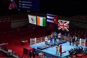 3 August 2021; Medallists in the men's welterweight division, from left, silver medalist Pat McCormack of Great Britain, gold medalist Roniel Iglesias of Cuba, bronze medalists Aidan Walsh of Ireland and Andrei Zamkovoi of Russian Olympic Committee during the national anthem at the Kokugikan Arena during the 2020 Tokyo Summer Olympic Games in Tokyo, Japan.  Photo by Brendan Moran/Sportsfile