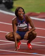 3 August 2021; Gabrielle Thomas of USA after finishing third in the Women's 200 metre final at the Olympic Stadium during the 2020 Tokyo Summer Olympic Games in Tokyo, Japan. Photo by Ramsey Cardy/Sportsfile