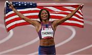 3 August 2021; Gabrielle Thomas of USA celebrates after finishing third in the Women's 200 metre final at the Olympic Stadium during the 2020 Tokyo Summer Olympic Games in Tokyo, Japan. Photo by Ramsey Cardy/Sportsfile