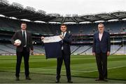 4 August 2021; The Arab Irish Chamber of Commerce has been announced as a jersey sponsor for the GAA Middle East. The Chamber promotes commercial relations between Ireland and the Arab world and CEO, Ahmad Younis was today presented with a GAA ME jersey, in recognition of his support for GAA in the region. From Dubai to Qatar, Saudi Arabia to Kuwait, the reach of the GAA in the Middle East is going from strength to strength.  And, with 15 clubs and more than 1,600 Irish ex pats involved in Gaelic games in the region since 2013, the Middle East GAA unit is the fastest-growing unit worldwide. Pictured at the jersey presentation is, from left, Stephen Twomey, Middle East GAA Chairman, Ahmad Younis, CEO, Arab Irish Chamber of Commerce and Larry McCarthy, President of the GAA. Photo by David Fitzgerald/Sportsfile