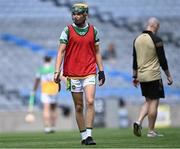 1 August 2021; Jack Screeney of Offaly in the warm-up before the Christy Ring Cup Final match between Derry and Offaly at Croke Park in Dublin.  Photo by Piaras Ó Mídheach/Sportsfile