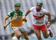 1 August 2021; John Murphy of Offaly in action against Seán Cassidy of Derry during the Christy Ring Cup Final match between Derry and Offaly at Croke Park in Dublin. Photo by Piaras Ó Mídheach/Sportsfile
