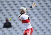 1 August 2021; Cormac O'Doherty of Derry takes a free during the Christy Ring Cup Final match between Derry and Offaly at Croke Park in Dublin.  Photo by Piaras Ó Mídheach/Sportsfile