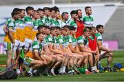 1 August 2021; Offaly players pose for a team photograph before the Christy Ring Cup Final match between Derry and Offaly at Croke Park in Dublin.  Photo by Piaras Ó Mídheach/Sportsfile