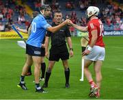 31 July 2021; Referee James Owens with team captains Danny Sutcliffe of Dublin and Patrick Horgan of Cork before the GAA Hurling All-Ireland Senior Championship Quarter-Final match between Dublin and Cork at Semple Stadium in Thurles, Tipperary. Photo by Piaras Ó Mídheach/Sportsfile